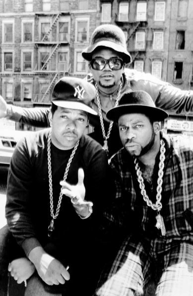 Rap group Run DMC are (l.-r.) DJ Run (Jason Simmons), DMC (D